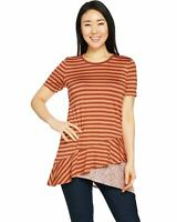 Lori Goldstein Womens Crew Neck Asymmetric Stripe Top (Papaya/Auburn, S) A290228