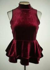 TORN BY RONNY KOBO MS SIZE SMALL DARK RED MOCK NECK SLEEVELESS PEPLUM STYLE TOP