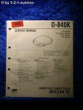 Sony Service Manual D 840K CD Player (#0160)