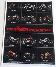 1975 INDIAN MOTORCYCLE LINEUP ENDURO AND MX SALES AD MI MT ME ML MX JX JC M5 MM5