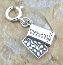 Sterling Silver Box of Chocolates with 8mm Spring Ring for Charm Bracelets-2329