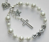 Girls Personalised 1st first Holy Communion Christening Charm Bracelet Gift