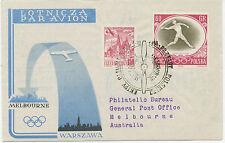 POLEN 1956 Kab.-R-Erst- u. Sonderflug mit LOT zur Olympische Spiele in MELBOURNE
