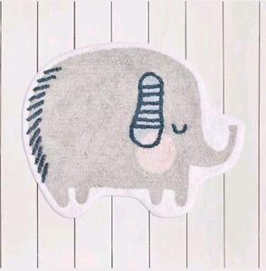 Elephant shape Rug 100% Cotton Anti Slip 70 X 90cm Babies Nursery/Bedroom Rug 🐘