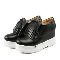 Womens Wedge Heel Platform Flats Creepers Oxfords Casual Tassel Lace Up Shoes