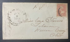 US Scott #65 with 1863 Double-Ringed CDS Miamiville P.O. , Camp Dennison, Ohio