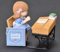 Country Cousins Enesco 1985 Girl Sitting at School Desk with Tag Porcelain