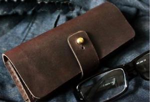 men women Eyeglass Cases sunglasses bag holder cow Leather Customize coffee z324