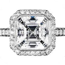 2 carat center Asscher cut Diamond Halo Engagement Wedding 14K White Gold Ring