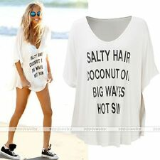 Sexy Women Casual Loose Beach T-shirt Long Tops Blouse Beach Cover Up Mini Dress