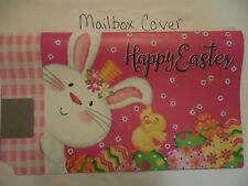"Magnetic Mailbox Cover ""Happy Easter"" Bunny Rabbit, Chick, Hot Pink, Egg, Checks"