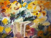 """Original Art Watercolor Painting JOAN PERRY (1928-2019) 23"""" X 18.5"""""""