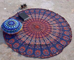 Round Mandala Tapestry Yoga Mat Hippie Beach Throw Indian Table Cloth Wall Decor