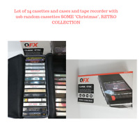 "Lot of ""24"" random cassette tapes & QFX Shoebox Tape Recorder"
