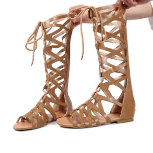 Women Knee High Gladiator Sandals Strappy Beach Flat Shoes Cut Out Lace Up Boots