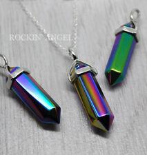 925 Silver Necklace & Titanium Rainbow Aura Quartz Pendant Reiki Healing Crystal