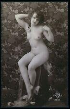 French nude woman on deco wallpaper original c1910-1920s photo postcard SOL logo