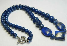 "Real Natural Blue Egyptian Lapis Lazuli Beads Necklace 18"""