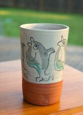 Spun Pottery Art Hand Painted Dolphins Coffee Mug Cup Vase Signed by Artist