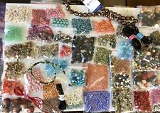 2 Lb., 2.8 oz Jewelry Making Supplies All Size Glass/Stone Beads, Leather, MOP++