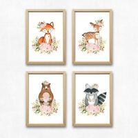 Wald Tiere Kunstdruck Bild Fuchs Reh Bär Waschbär Kinderzimmer Deko Geschenk