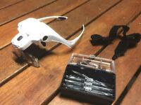 LED Lamp Headset Magnifying Glass Head Light Jeweler Headband Magnifier Loupe AU