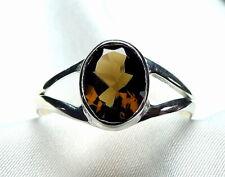 Rauchquarz Ring 925 Silber Gr. 17,5 (55) ovaler, großer Edelstein UNIKAT NEU