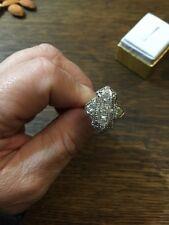 Antique Vintage Art Deco 18k White Gold Diamond Cocktail Ring Art Deco Filigree