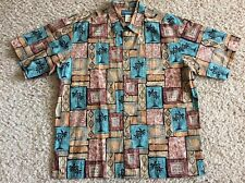 Vintage COOKE STREET Hawaiian Aloha Shirt LARGE 100% COTTON Brown Blue Palm COOL
