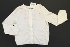 NWT Janie and Jack Fancy Ballet 3 3T Ivory Cardigan Sweater w/ Pink Satin Bows