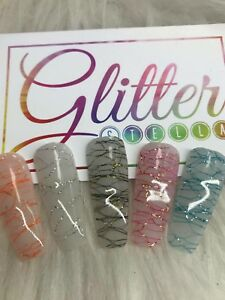 Nail Art Fairy Wing Netting X 5, Pink, Silver, Black, Orange, Blue, Glitter