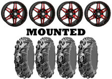 Kit 4 ITP Monster Mayhem Tires 30x10-14 on STI HD7 Red Wheels HP1K