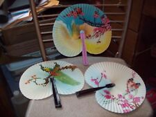 3 Vintage Oriental Asian Style Folding Hand Fans Made in  Republic Of China