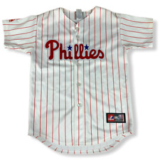Woman's Phillies Pin Striped Shirt #33 Lee M Majestic Threads