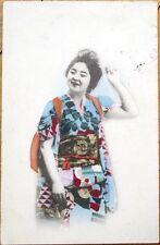 1912 Japanese Geisha Girl Postcard - Hand Colored - Japan