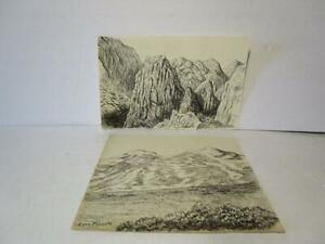 PAIR OF PEN AND INK LANDSCAPE SKETCHES BY UTAH ARTIST LYNN FAUSETT 1894-1977