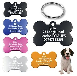 Personalised Dog Tags Pet Tags Engraved ID Identification Collar Tag Bone Cat