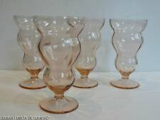 4 Depression Soda Fountain Glasses Federal LIDO Rose Glow PINK Ice Cream Parfait