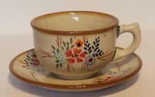 Bunzlauer Keramik Tasse mit Unterteller (F036-GM13) - Blumen - 0,3Liter