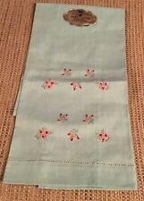 Vintage New Hand Loom Embroidered Green Linen