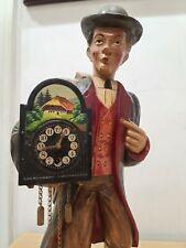 Vintage German Carved Wood Karl Griesbaum Clockwork Whistler Automaton