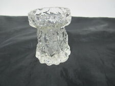 Ingrid Glas Vase Borkenglas - Kurt Wokan - Rinden Relief klar 11 cm, 70er Jahre