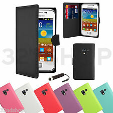 BOOK FLIP WALLET PU LEATHER CASE COVER FOR SAMSUNG GALAXY ACE PLUS S7500