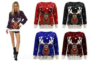 Ladies Women Unisex Reindeer on Wall Novelty Christmas Xmas Jumper Sweater New