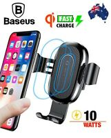 Baseus Metal Gravity Car Mount Qi Wireless Charger Fast Charge Pad Holder Stand
