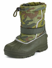 Boys M&S Camouflage Print Riptape Snow Boots Size 7 New with Tags *RRP £26*