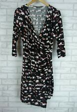 BASQUE Sz 12 Stretch Dress Black, Red, Gray Print