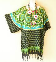 KB724 Rayon One Size Women Kaftan Poncho Kimono Tunic Blouse Top - M L, XL, 1X