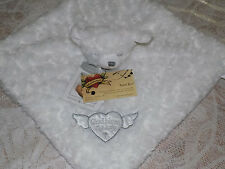 SECURITY BLANKET BEYOND WHITE CHRISTENING GOD BLESS BABY ROSETTE SWIRLS FAUX FUR