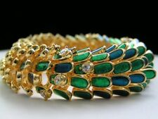 Kenneth Jay Lane KJL * WILD PEACOCK * Enamel Rhinestone Bracelet Book Piece NEW